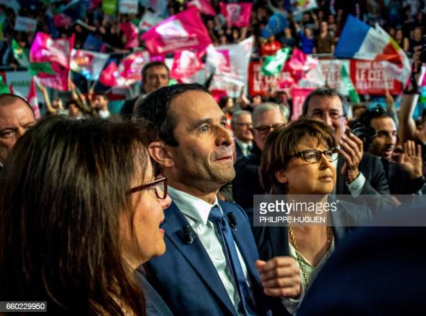 TOPSHOT French presidential election candidate for the leftwing French Socialist party Benoit Hamon Lille's mayor Martine Aubry and Green Party...