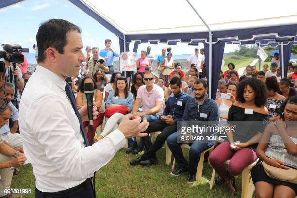 French presidential election candidate for the leftwing French Socialist party Benoit Hamon delivers a speech in SaintLouis on April 1 on the French...