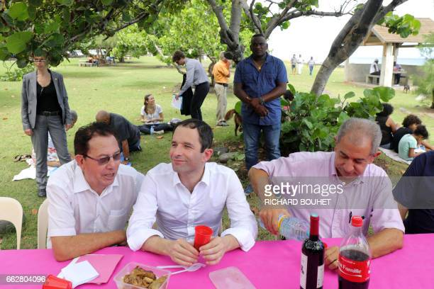 French presidential election candidate for the leftwing French Socialist party Benoit Hamon attends a picnic in SaintLouis on April 1 on the French...