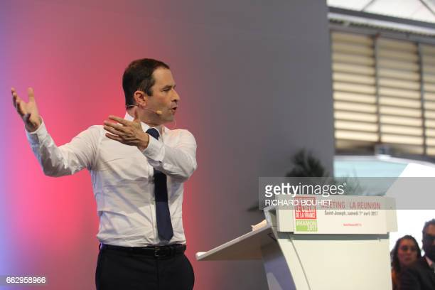French presidential election candidate for the leftwing French Socialist party Benoit Hamon delivers a speech in SaintJoseph on April 1 on the French...