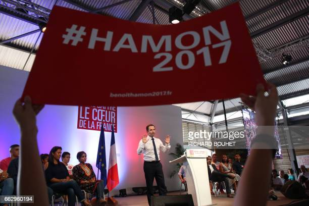 TOPSHOT French presidential election candidate for the leftwing French Socialist party Benoit Hamon delivers a speech in SaintJoseph on April 1 on...