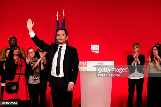 French presidential election candidate for the leftwing French Socialist party Benoit Hamon waves after delivering a speech at the Maison de la...