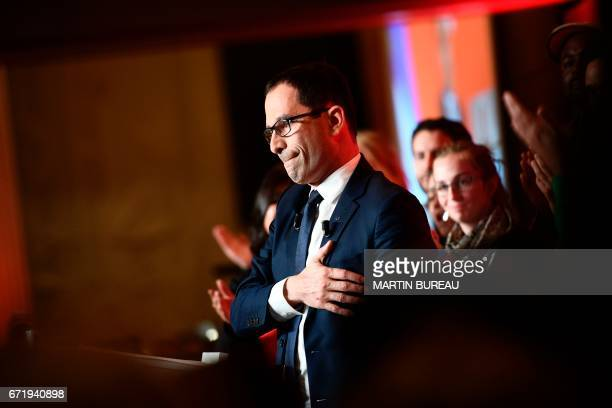 French presidential election candidate for the leftwing French Socialist party Benoit Hamon reacts after delivering a speech at the Maison de la...