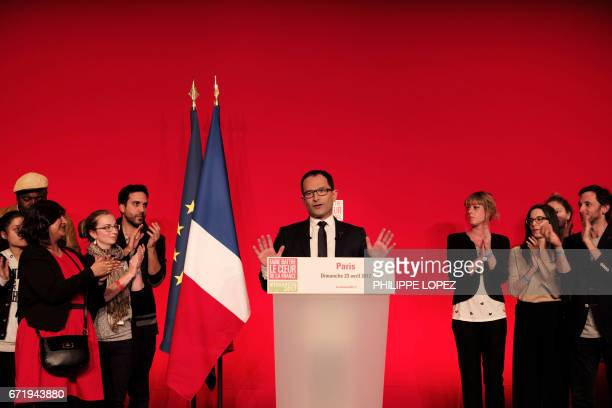 French presidential election candidate for the leftwing French Socialist party Benoit Hamon delivers a speech at the Maison de la Mutualite in Paris...