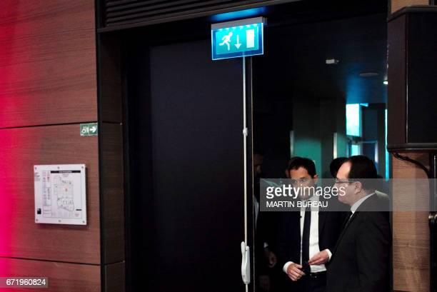 French presidential election candidate for the leftwing French Socialist party Benoit Hamon arrives to deliver a speech at the Maison de la Mutualite...