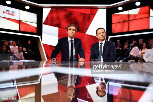 French presidential election candidate for the leftwing Socialist Party Benoit Hamon and French journalist and TV host David Pujadas pose prior to...