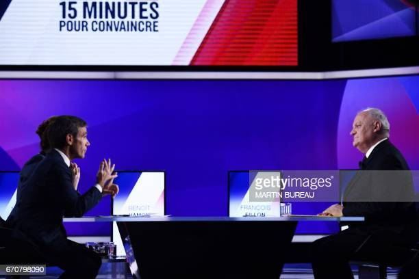 French presidential election candidate for the Popular Republican Union party Francois Asselineau speaks with French journalists and television hosts...
