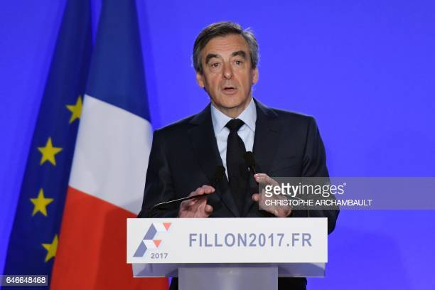 French presidential election candidate for the rightwing Les Republicains party Francois Fillon delivers a speech during a press conference on March...