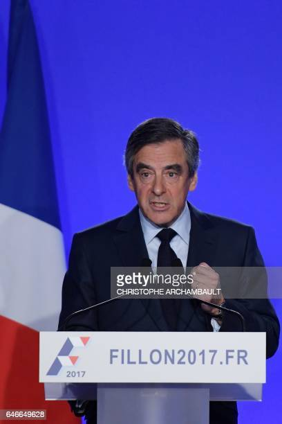 French presidential election candidate for the rightwing Les Republicains party Francois Fillon speaks during a press conference on March 1 2017 in...