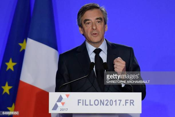 French presidential election candidate for the rightwing Les Republicains party Francois Fillon gives a press conference on March 1 2017 in Paris...