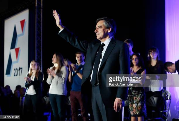 French presidential election candidate for the rightwing Les Republicains party Francois Fillon speaks during a campaign rally on March 2 2017 in...