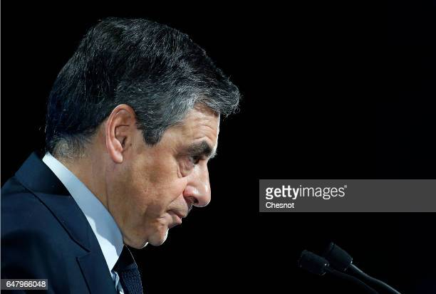 French presidential election candidate for the rightwing 'Les Republicains' party Francois Fillon delivers a speech to present his program during a...