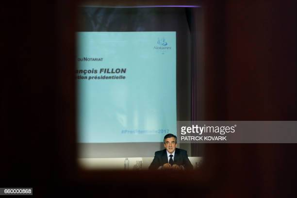 French presidential election candidate for the rightwing Les Republicains party Francois Fillon addresses French notaries as part of the campaign on...