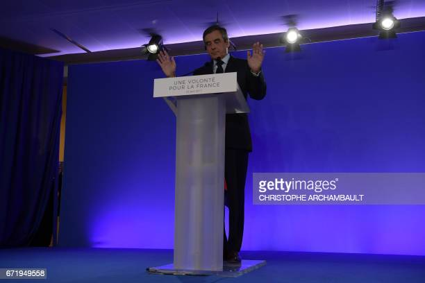 TOPSHOT French presidential election candidate for the rightwing Les Republicains party Francois Fillon delivers a speech at his campaign...
