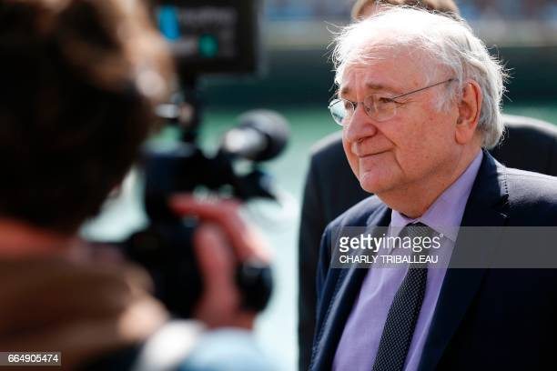 French presidential election candidate for the Solidarite et Progres party Jacques Cheminade speaks to journalists at the harbour of Le Havre on...