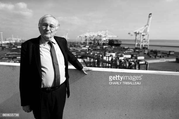French presidential election candidate for the Solidarite et Progres party Jacques Cheminade poses at the harbour of Le Havre on April 5 2017 / AFP...