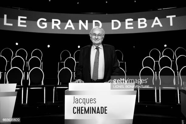 French presidential election candidate for the Solidarite et Progres party Jacques Cheminade poses on the TV set prior to a debate organised by the...
