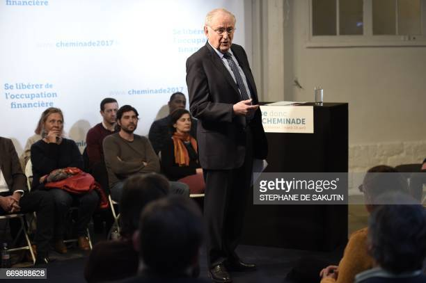 French presidential election candidate for the Solidarite et Progres party Jacques Cheminade delivers a speech during a campaign meeting in Paris on...