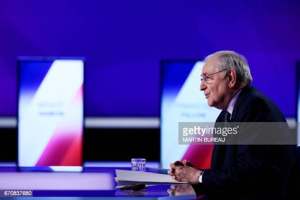 French presidential election candidate for the Solidarite et Progres party Jacques Cheminade takes part in a special political TV show entitled '15mn...