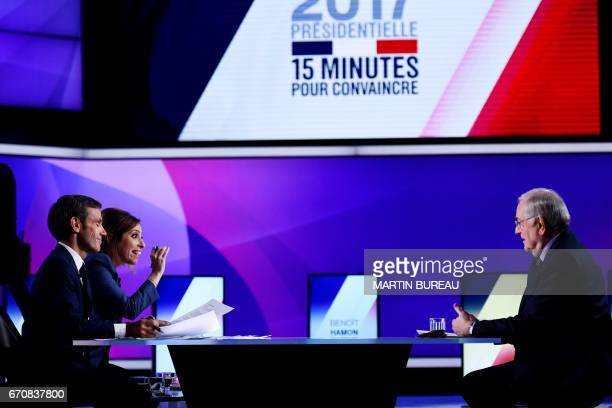 French presidential election candidate for the Solidarite et Progres party Jacques Cheminade speaks with French journalists and television hosts...