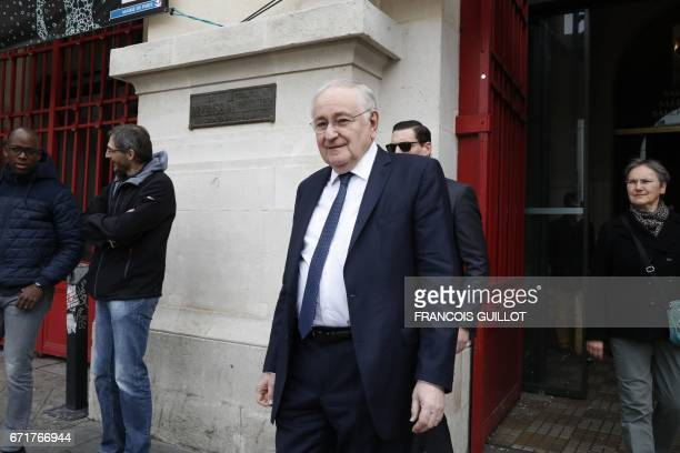 French presidential election candidate for the Solidarite et Progres party Jacques Cheminade leaves after casting his vote at a polling station in...