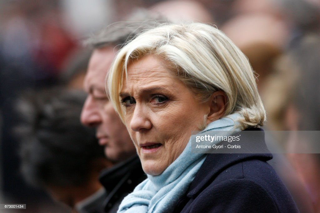 French Presidential Election candidate Marine Le Pen attends the National tribute to fallen French Policeman Xavier Jugele on April 25, 2017 in Paris, France. French Police Officer Xavier Jugele, 37, was shot dead by a gunman on Thursday April 20, 2017 on Paris's Champs Elysees, a few days' prior to the French Presidential elections. (Photo by Antoine Gyori/Corbis via Getty Images