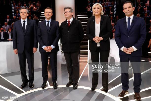 French presidential election candidates rightwing Les Republicains party Francois Fillon En Marche movement Emmanuel Macron farleft coalition La...