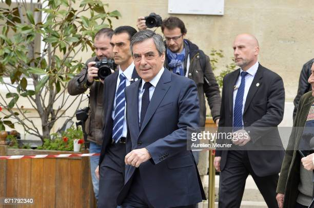 French Presidential right wing candidate Francois Fillon leaves after voting on April 23 2017 in Paris France France will hold the second round of...