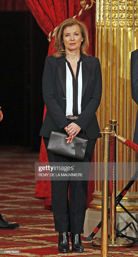 French President's companion Valerie Trierweiler takes part in an award ceremony on November 26, 2012 at the Elysee Palace in Paris.