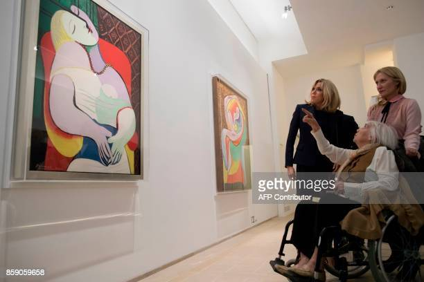 French President's wife Brigitte Macron daughter of late Spanish painter Pablo Picasso Maya Picasso and Maya's daughter Diana Widmaier Picasso view...