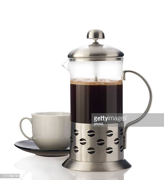 French press with cup isolated.