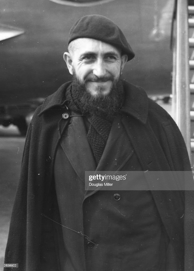 French priest Abbe Pierre at London Airport From 1951 he has concentrated on helping the homeless of Paris with his fellow workers the Companions of...
