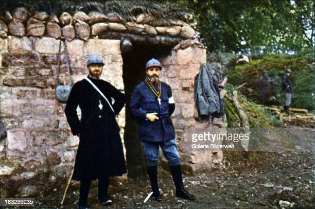 A French priest and a chaplain at the front during the Battle of Verdun September 1916 Western Front World War I France Autochrome Lumière Photo...