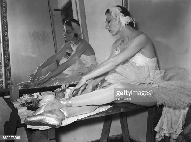 French prima ballerina Yvette Chauviré prepares for her performance in three Nijinsky galas at the Empress Hall in London 21st November 1949 She has...