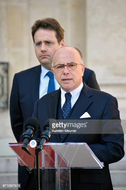 French Prime Minister Bernard Cazeneuve addresses the press after a defense council at Elysee Palace on April 21 2017 in Paris France One police...