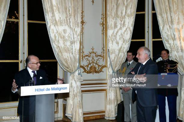 French Prime Minister Bernard Cazeneuve and Francois Berleand attend Francois Berleand is elevated to the rank of 'Officier de la Legion d'Honneur'...