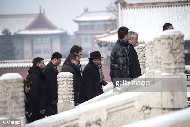 French Prime Minister Bernard Cazeneuve and French delegation visit the Forbidden City in Beijing on February 22 2017 Cazeneuve is on a threeday...
