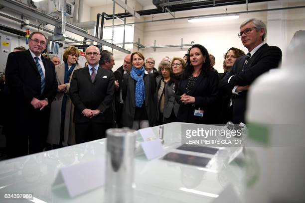 French Prime Minister Bernard Cazeneuve French Minister for Ecology Sustainable Development and Energy Segolene Royal visit the CEA Tech in Grenoble...