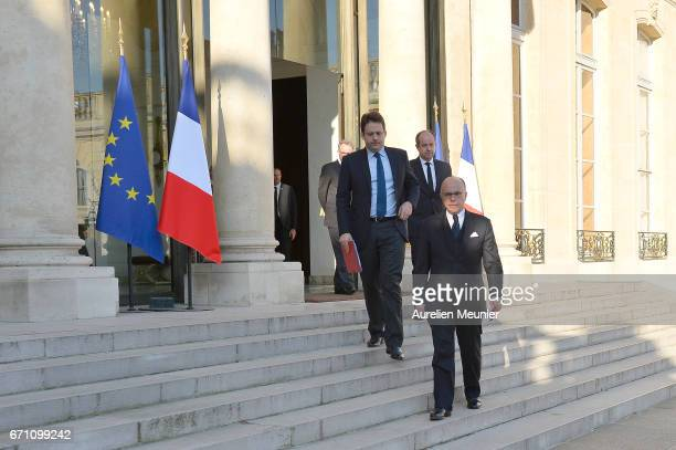 French Prime Minister Bernard Cazeneuve prior to addressing the press after a defense council at Elysee Palace on April 21 2017 in Paris France One...