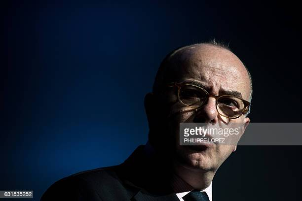 French Prime Minister Bernard Cazeneuve speaks during the unveiling of the 'compte personnel dactivite' in Paris on January 12 2017 in Paris / AFP /...