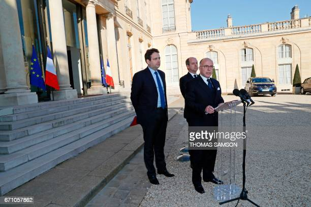French Prime Minister Bernard Cazeneuve speaks next to Interior Minister Matthias Fekl and Justice Minister JeanJacques Urvoas after a meeting of the...
