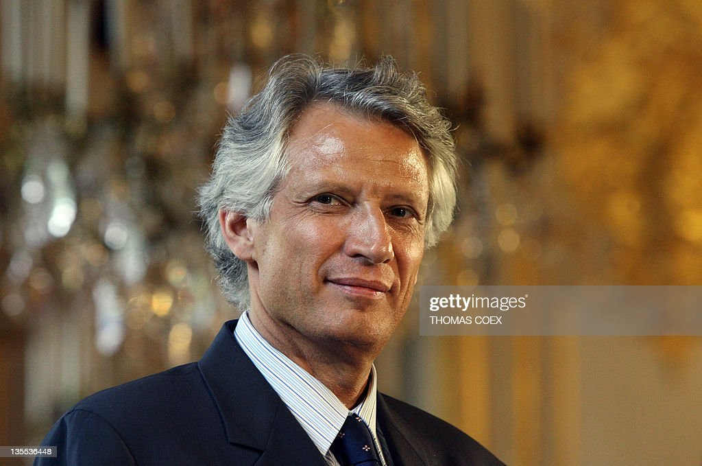 French Prime Minister <a gi-track='captionPersonalityLinkClicked' href=/galleries/search?phrase=Dominique+de+Villepin&family=editorial&specificpeople=548074 ng-click='$event.stopPropagation()'>Dominique de Villepin</a> attends a meeting with students of the Erasmus European program, 09 May 2006 at the De Lassay hotel in Paris. The Clearstream affair has badly damaged Sarkozy's main political rival, Prime Minister <a gi-track='captionPersonalityLinkClicked' href=/galleries/search?phrase=Dominique+de+Villepin&family=editorial&specificpeople=548074 ng-click='$event.stopPropagation()'>Dominique de Villepin</a>, who has been accused of setting up a secret enquiry into the claims against Sarkozy on the instructions of President Jacques Chirac.