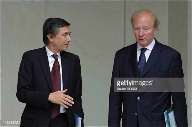 French Prime Minister Dominique de Villepin leaves the weekly cabinet meeting at the Elysee Palace in Paris France on June 21 2006 Minister of...