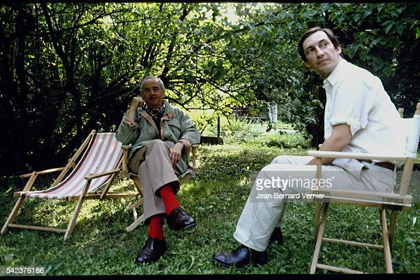 French Prime Minister Edouard Balladur with his Chief of Staff Nicolas Bazire on holiday in Chamonix