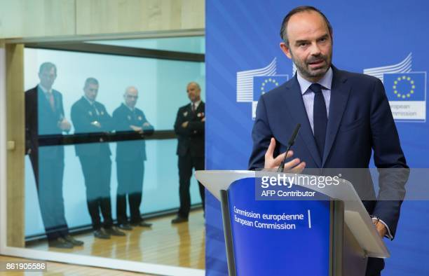 French Prime Minister Edouard Philippe addresses the press at the European Commission in Brussels on October 16 2017 / AFP PHOTO / BELGA / BENOIT...
