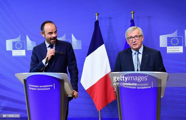 French Prime Minister Edouard Philippe and European Commission President JeanClaude Juncker address the press at the European Commission in Brussels...