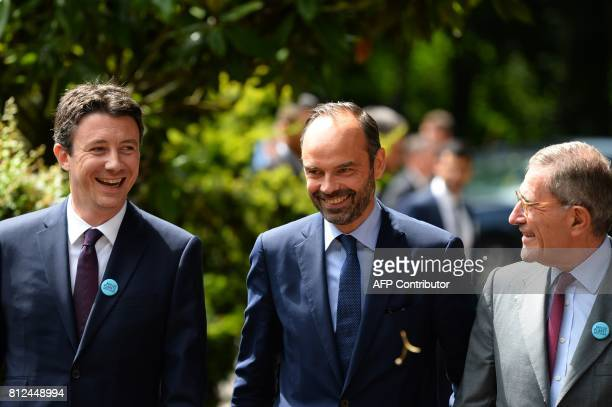 French Prime Minister Edouard Philippe and French Junior Economy Minister Benjamin Griveaux are greeted by Engie Chairman of the board and Paris...