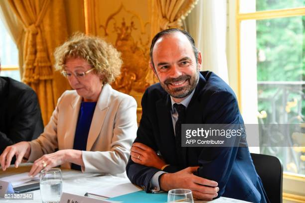 French Prime Minister Edouard Philippe and French Labour Minister Muriel Penicaud attend a meeting with French union CGT at the Hotel de Matignon in...