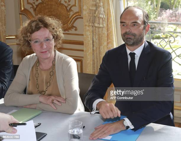 French Prime Minister Edouard Philippe and French Labour Minister Muriel Pénicaud meet with president of the FESAC Federation of live show companies...