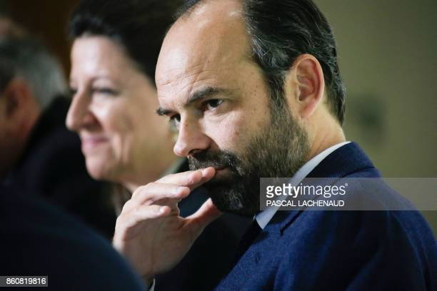 French Prime Minister Edouard Philippe and French Minister for Solidarity and Health Agnes Buzyn attend the inauguration of the city's new Health...